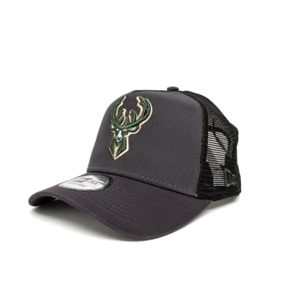 New Era Milwaukee Bucks Dark Base A-Frame Trucker Cap - Grey