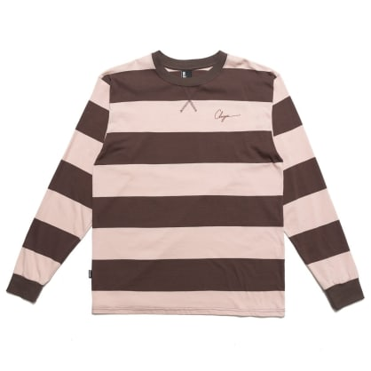 Chrystie NYC Script Logo Long Sleeve T-Shirt - Washed Pink / Brown