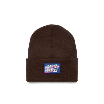 Quartersnacks Rubber Label Beanie - Brown