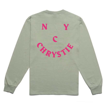 Chrystie NYC Smile Logo Long Sleeve T-Shirt - Washed Green