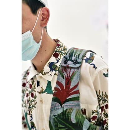 Shoulder Vest Light Blue Polyester Big Floral Print