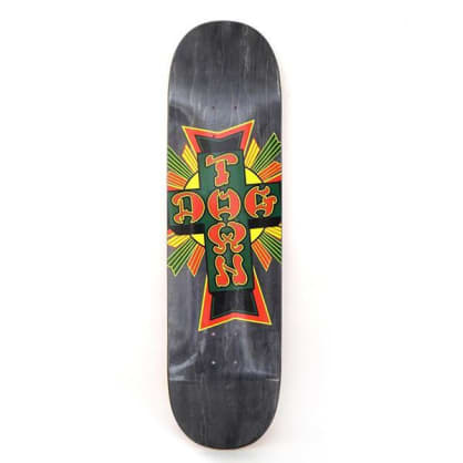 Dogtown Skateboards Street Cross Logo Deck Black Stain/Rasta - 8.5