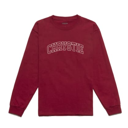 Chrystie NYC - Collegiate Logo Long Sleeve Shirt / Burgundy