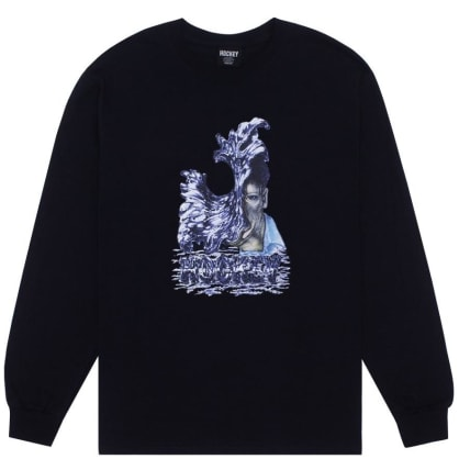 Hockey Liquid Metal Long Sleeve T-Shirt - Black