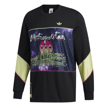 adidas Metropolitan Long Sleeve T-Shirt - Black / Yellow Tint / Real Magenta