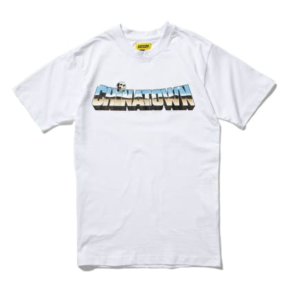 "CHINATOWN MARKET-""CHROME SKULL T-SHIRT""(WHITE)"