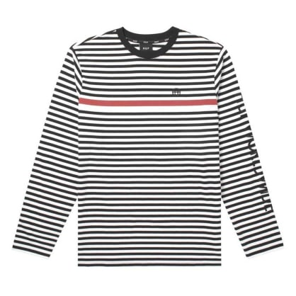 HUF Morris Long Sleeve Knit Top - Black and White