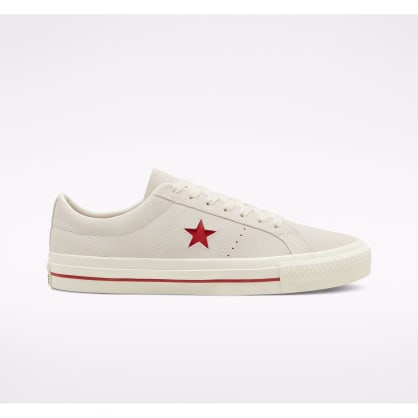 Converse Cons One Star Pro Ox Skate Shoe - Egret / Claret Red / Egret