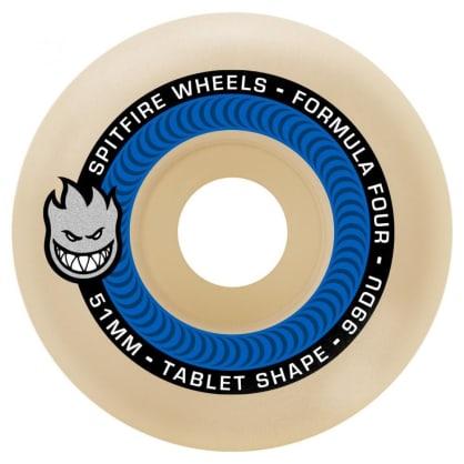 Spitfire Wheels - Spitfire Formula Four Tablet Skateboard Wheels 99D Blue | 51mm Skate Wheels