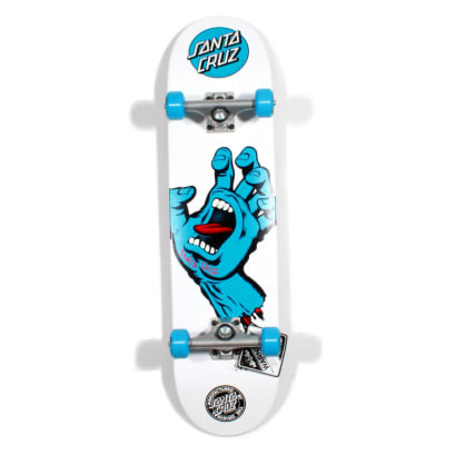 Santa Cruz Screaming Hand Complete Skateboard, White - 7.75""