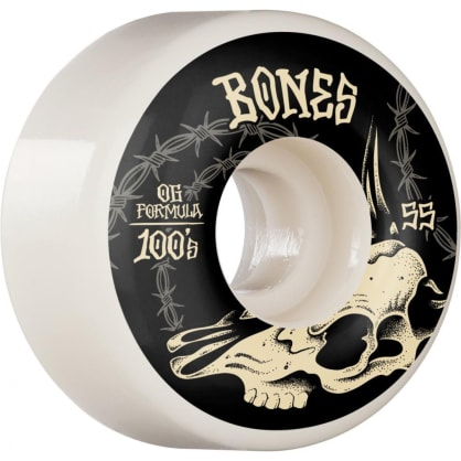 Bones - 55mm 100's V4 Desert Skull Wide Skateboard Wheels