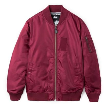 Stussy MA-1 Flight Jacket Burgundy