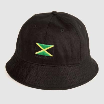 """PASS~PORT """"JAMAICA"""" BUCKET CAP BLK"""