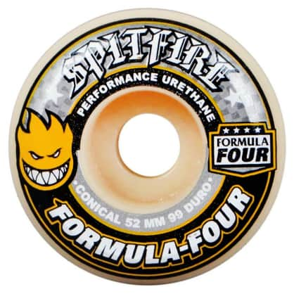 Spitfire Wheels F4 99D Conical Yellow Print 52mm