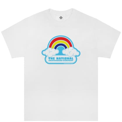 The National Skateboard Co Double Rainbow T-Shirt - White