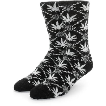 HUF ANGORA NORDIC SOCKS - BLACK WHITE