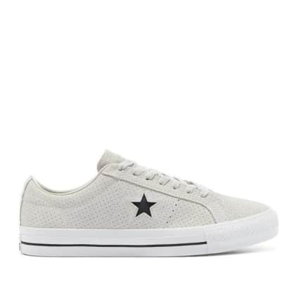 Converse CONS Perforated Suede One Star Pro Low Top Shoes - Pale Putty / White / White