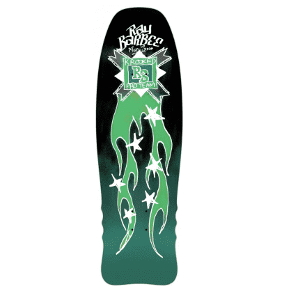 Krooked Skateboards Deck Ray Barbee Flames Black/Green 10""