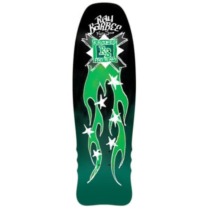 Krooked Pro Ray Barbee Flames Black/Green Deck - 10""