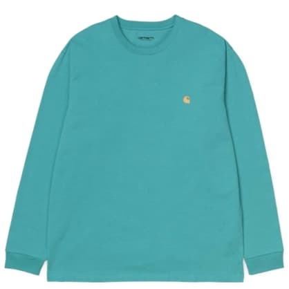 Carhartt WIP Chase Long Sleeve T-shirt - Frosted Turquoise