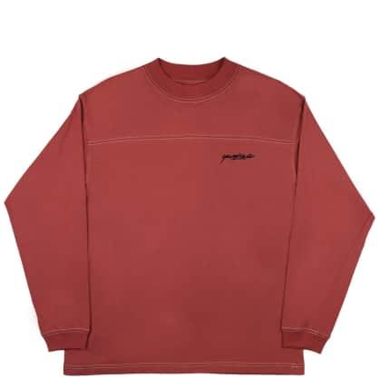 Yardsale Script Polo Long Sleeve - Crimson