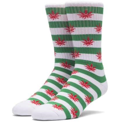HUF PLANTLIFE CANDY CANE SOCKS - GREEN WHITE