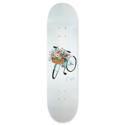 Skate Cafe Flower Basket (Grey) Deck - 8.0""