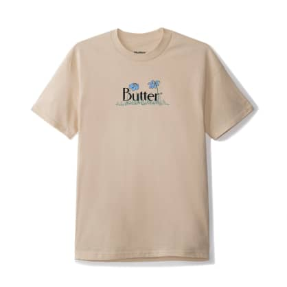 Butter Goods Flowers Classic Logo T-Shirt - Sand