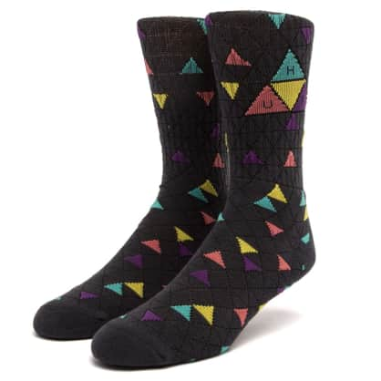 HUF Triple Triangle Pattern Socks Charcoal