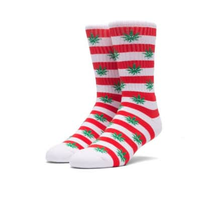 HUF PLANTLIFE CANDY CANE SOCKS - RED WHITE