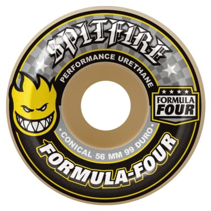 Spitfire Wheels F4 99D Conical Yellow Print 56mm