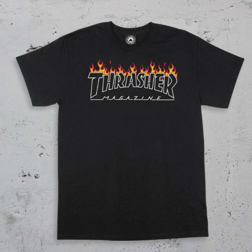 Thrasher Scorched Outline Logo T-shirt - Black
