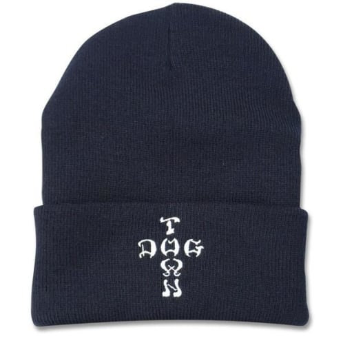 Dogtown Beanie Embroidered Cross Letters - Navy