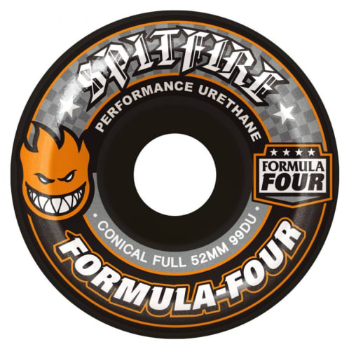 Spitfire Formula Four Conical Full Skateboard Wheels Black 99DU 53mm