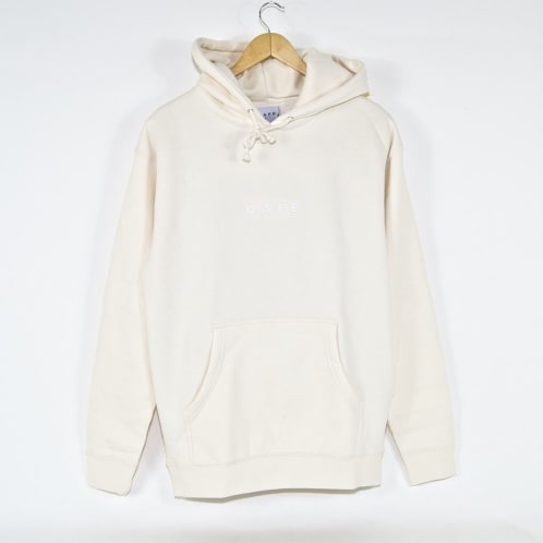 Skateboard Cafe - Embroidered Pullover Hooded Sweatshirt - Cream