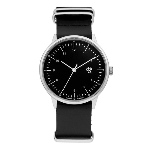 CHPO Harold Watch - Black Dial/Black Leather Strap