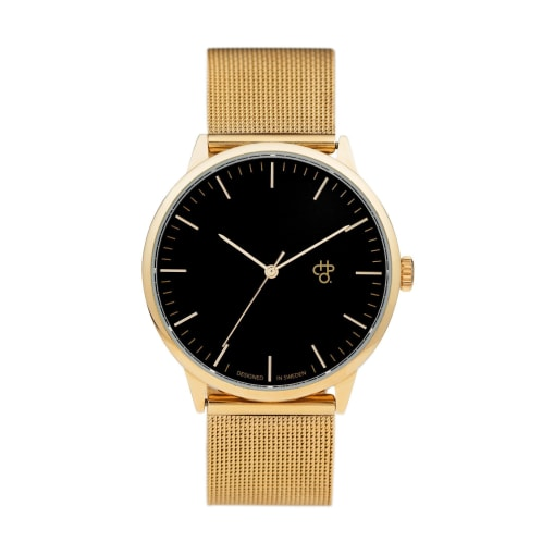 CHPO Nando Gold Watch - Black Metal Dial/Metal Mesh Wristband