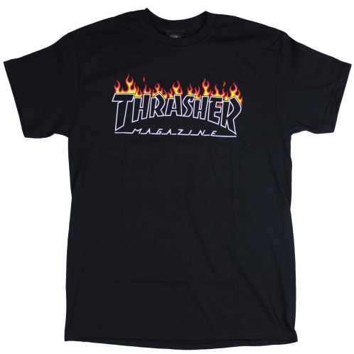 Thrasher Scorched Outline T-Shirt Black