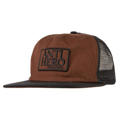 Anti Hero Skateboards - Reserve Patch Trucker Cap - Black / Brown