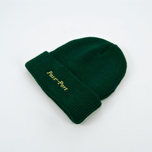 Pass Port Skateboards - Script Embroidery Beanie - Forest Green