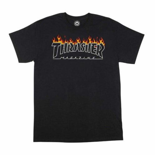Thrasher Scorched Outline T-Shirt - Black