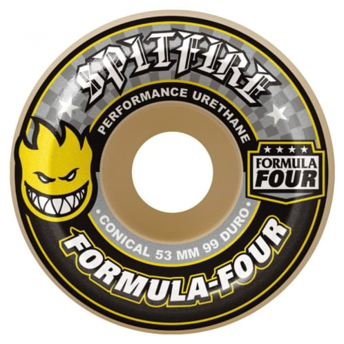 Spitfire Formula Four Skateboard Wheels - Conical (Yellow Print) 99DU 56 MM
