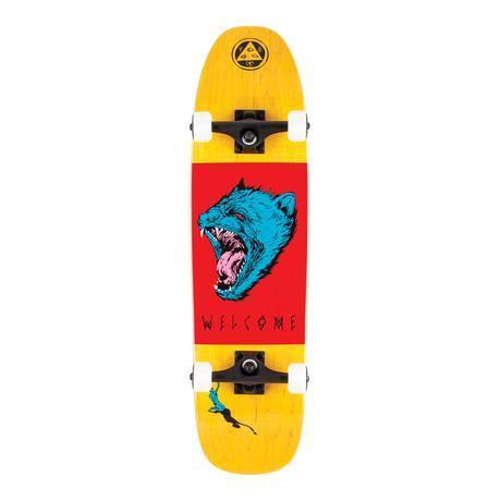 """Welcome Skateboards - 8.25"""" Tasmanian Angel on Scale Down Nimbus 3000 Complete Skateboard - Yellow / Red / Blue"""