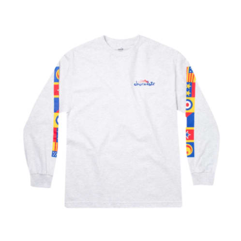 Lakai - Chocolate Skateboards Flags Longsleeve T-Shirt - Ash Grey