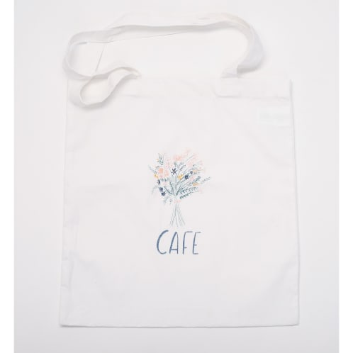 Skateboard Cafe Bouquet Tote Bag White