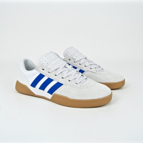 Adidas Skateboarding - City Cup Shoes - Crystal White / Blue / Gum 4