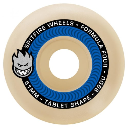 Spitfire Wheels - Spitfire Formula Four Tablet Skateboard Wheels 99D Blue | 54mm Skate Wheels