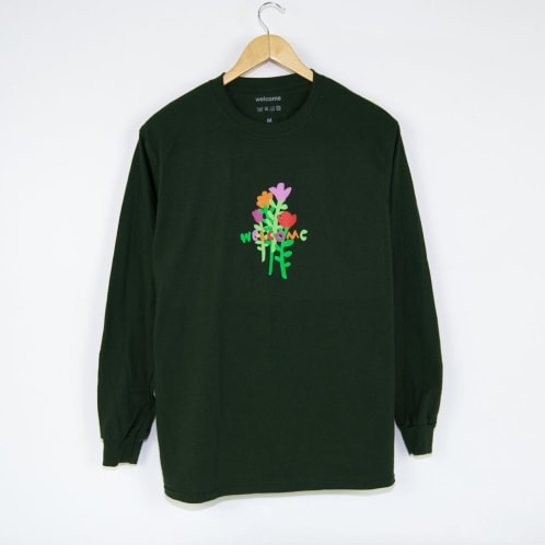 Welcome Skate Store - Rose Longsleeve T-Shirt - Forest Green