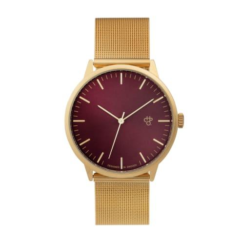 CHPO Nando Van Brugge Watch - Bordeaux Metal Dial/Mesh Wristband