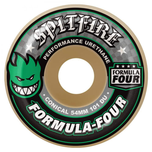 Spitfire Formula Four Skateboard Wheels - Conical (Green Print) 101D 53mm